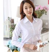 打底韩版百搭清新休闲工作服正装工装大码衬衣职业韩版白色女长袖衬衫