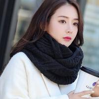 韩版秋冬季女士保暖加厚围脖女学生冬天百搭原宿针织毛线套头黑色