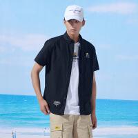 【大牌折后价:79/叠90元券】361度夏季合作系列休闲短袖衬衫男装
