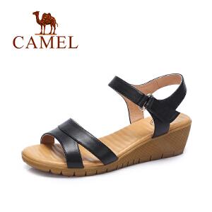 camel骆驼女鞋 夏季新款简约透气真皮增高坡跟鞋 舒适凉鞋女