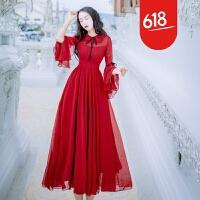 原创夏季新品文艺复古娃娃领修身喇叭袖雪纺连衣裙中长款显瘦A字裙仙GH04 红色(有波点)
