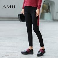 Amii[极简主义]冬新款修身显瘦弹力九分打底裤女11682973.