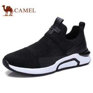 camel 骆驼男鞋新品运动休闲套脚飞织鞋面休闲跑步男鞋