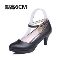 春秋新款职业鞋女单鞋中跟工作鞋女黑色高跟鞋一字扣绑带正装皮鞋