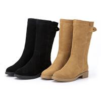 2018冬季新款真皮中筒靴女粗跟磨砂皮防滑棉靴加绒中跟保暖雪地靴