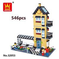 万格乐博士2015新款别墅建筑塑料积木玩具益智拼装 新