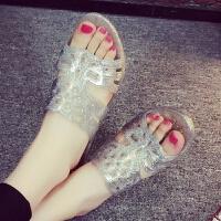 夏季中跟坡跟妈妈鞋透明水晶果冻沙滩凉拖鞋塑料韩版女士凉鞋拖鞋女水钻坡跟镶钻高跟女凉鞋露趾鱼嘴鞋女
