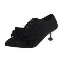 欧美春秋2019新款尖头高跟短靴女士细跟裸靴马丁靴时尚及单鞋靴子
