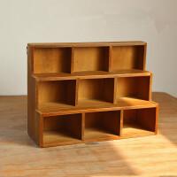 九格桌面收纳柜复古木质三层创意家居阶梯首饰办公室展示柜