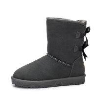 camel 骆驼女鞋 秋冬新款 甜美蝴蝶结雪地靴 舒适防滑中筒靴女靴子