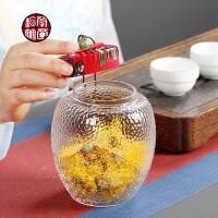 玻璃茶叶罐日式家用功夫小号密封存茶罐装半斤锤目纹透明展示瓶