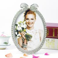 椭圆框的相框镶钻珍珠欧式相框摆台创意个性精美6寸7寸情侣椭圆形照片相架 水晶之恋-镶钻珍珠