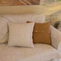 素色棉麻绣花沙发垫柔软布艺防滑坐垫四季亚麻纯色沙发巾套