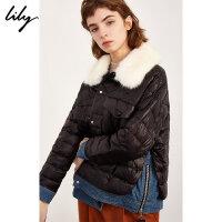 Lily秋冬新款女装拼接牛仔短款撞色毛领羽绒服118419D3943