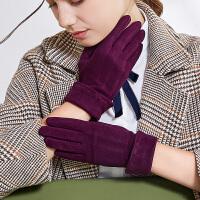 韩版时尚手套女秋冬天加厚保暖户外薄款分指骑行开车修手户外防寒