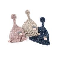 婴儿帽子秋冬季女宝宝公主可爱女童女宝毛线帽