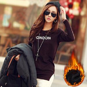 韩版修身显瘦中长款加厚加绒圆领打底印花长袖套头T恤