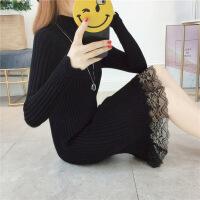秋冬季毛衣女套头中长款韩版宽松半高领长袖加厚针织打底衫毛衣裙