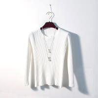 加绒毛衣女圆领短款修身长袖秋冬百搭上衣2018新款加厚打底针织衫 白色 S