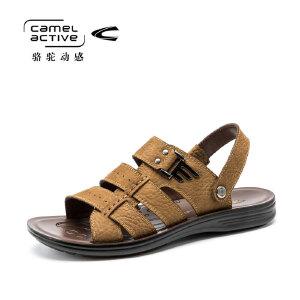 德国骆驼动感真皮凉鞋男2017夏季新款韩版潮休闲鞋露趾防滑沙滩鞋