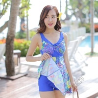 泳衣女 保守连体女式遮肚裙式大码泳装钢托平角温泉泳衣 宝蓝