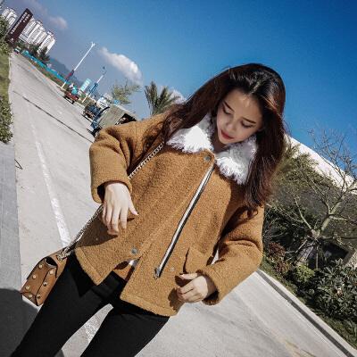 谜秀2017毛呢外套女韩范显瘦修身羊毛领短款呢子大衣