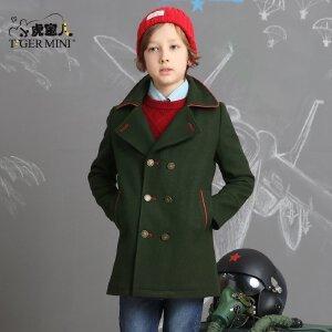 男童呢子大衣 儿童将军一样加绒加厚外套中长款冬装小虎宝儿童装