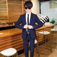 西装男套装青少年修身小西装一套青年休闲韩版主持人西服潮流帅气
