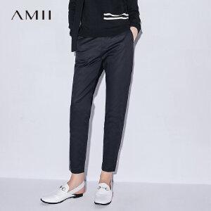 Amii[极简主义]2017秋装新款女大码印花插袋休闲九分裤11774283