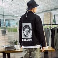 【1折价72.9元】唐狮春秋新款牛仔外套男韩版休闲宽松黑色牛仔衣印花夹克