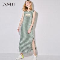 【AMII 超级品牌日】Amii[极简主义]2017夏装圆领无袖海魂条纹字母印花连衣裙11721904