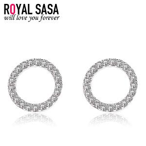 皇家莎莎圆圈925银耳钉耳针女韩版气质个性简约耳饰品送女友礼物