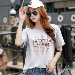 韩版女装夏装新款印花bf风宽松上衣棉质大码短袖T恤女学生
