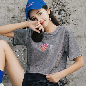 ins宽松亮丝T恤女短袖新款韩系夏季打底衫体恤上衣潮