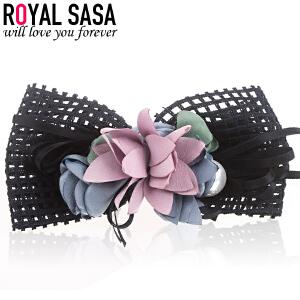 皇家莎莎RoyalSaSa韩版布艺大花朵发夹弹簧夹蕾丝盘发马尾夹发卡子头饰品发饰HFS509238