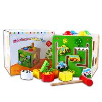 木制多功能敲球智力盒 手眼协调拼装玩具儿童几何形状配对教具