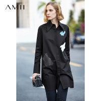【预估价188元】Amii极简法式洋气chic长款衬衫裙女2019秋季新款撞色拼接宽松上衣