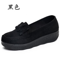 秋冬老北京布鞋豆豆鞋松糕厚底女鞋棉鞋中跟浅口黑色工作鞋女单鞋 厚底D-23 黑色 36 标准码