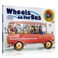 Wheels on the Bus 巴士上的轮子 平装 Raffi 英文原版绘本 将平常搭乘公车的情景,栩栩如生地呈现 将有声音的物品格外突显,并配合文字,揣摩故事的情节