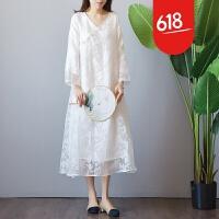 魅儿文艺复古白色蕾丝连衣裙中国风女装盘扣汉服改良旗袍仙长裙夏茶服GH112 白色