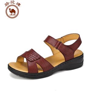 骆驼牌女凉鞋 夏季新品 休闲女鞋女士牛皮魔术贴舒适女鞋子