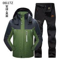 防水透气新款冲锋衣裤套装 户外运动加绒加厚保暖 男大码登山服