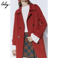 【2件5折价:2551.45元】【羊绒大衣Lily2018冬新款女装中长款双排扣双面呢羊绒大衣