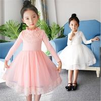 女童秋冬装连衣裙子纯棉白色公主纱裙蕾丝粉色