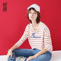 初语秋季新款 纯棉圆领条纹字母刺绣宽松长袖女t恤