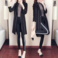 卡茗语2017韩版女士百搭风衣秋季新款修身条纹翻领中长款风衣休闲女外套