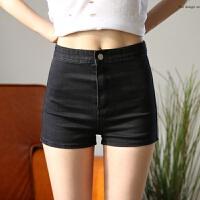 牛仔短裤 春夏季复古修身弹力紧身热裤 高腰短裤女