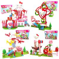 潮�NHellokitty凯蒂猫游乐园系列海盗船场景拼装积木女孩益智玩具 满月周岁生日礼物六一圣诞节新年礼品