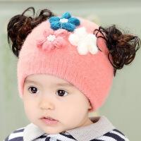 婴儿帽子秋冬保暖0-3-6个月公主帽冬季套头宝宝帽女新生儿