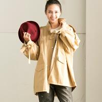 米可可 W1119B 通勤秋冬季新款纯色抽绳立领挡风中长款风衣外套